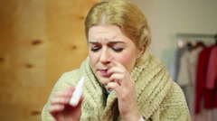 Sad woman having terrible cold. Rhinitis. Treatment of influenza at home Stock Footage