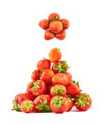 Strawberries composed as christmas tree - stock photo