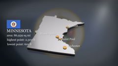 3D animated Map of Minnesota Stock Footage