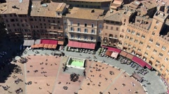 Panoramic aerial view of Piazza del campo, Siena - stock footage