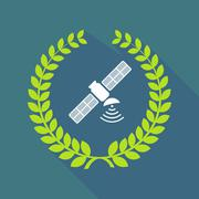 Long shadow laurel wreath icon with a satellite Stock Illustration