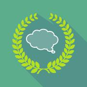 Long shadow laurel wreath icon with a comic cloud balloon Stock Illustration