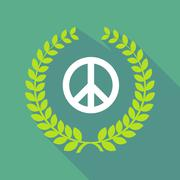 Long shadow laurel wreath icon with a peace sign Stock Illustration