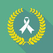 Long shadow laurel wreath icon with an awareness ribbon Stock Illustration