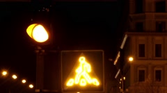 The Crosswalk Sign Lit at Night. Stock Footage