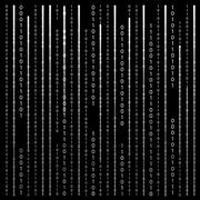 Black and White. Algorithm Binary Code with digits on background - stock illustration