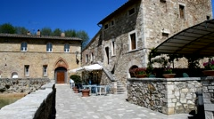 Bagno Vignoni, medieval and thermal town of Tuscany Stock Footage