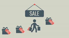 people with shopping, label, sale, - stock footage