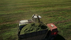 Aerial view of farmer combain Stock Footage