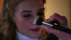 Makeup artist correcting greasepaint adult lady. Skin problems, enlarged pores Stock Footage