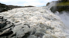 Biggest in Europe waterfall Dettifoss with river in Iceland Stock Footage