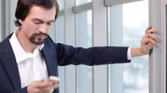 Telephone Conversation During a Break - stock footage