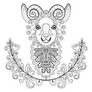 Ram with floral frame. wreathe. Vector zentangle Ram Head illust - stock illustration