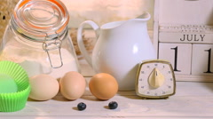 Recipe and ingredients for homemade muffins with blueberries Stock Footage
