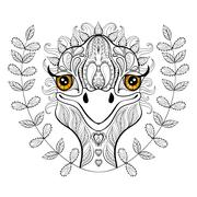 Vector ostrich for adult coloring page. Hand drawn funny ostrich - stock illustration