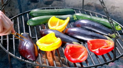 Roasted vegetables on the grill with fire Stock Footage