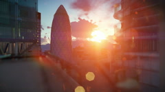 London beautiful sunrise over Swiss Reinsurance Headquarters, The Gherkin Stock Footage