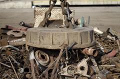 Metal magnet on scrap yard Kuvituskuvat
