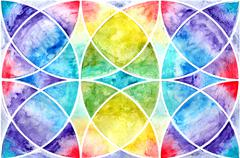 Geometric abstraction watercolor. Sacred geometry - stock illustration