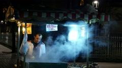 Street food vendor at night. Istanbul, Turkey Stock Footage