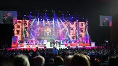 Turetsky Choir singers performing at State Kremlin Palace - stock footage