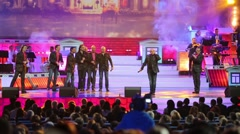 Turetsky Choir sing together on stage of State Kremlin Palace Stock Footage