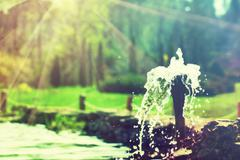 Close-up of an old stone fountain with dripping water and blurred background - stock photo