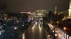 Manezhnaya street along Moscow Kremlin and Alexander Garden Stock Footage