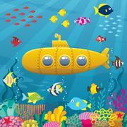 Submarine Background Stock Illustration