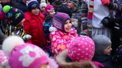 Children pretend that made snowballs repeating for Snow Maiden - stock footage