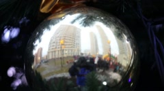 City and photographer recognized in closeup Christmas decorations Stock Footage
