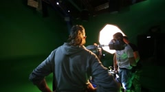 Film crew shooting moving singer close up on shooting video Stock Footage