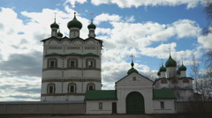 Domes with crosses of the Orthodox monastery - stock footage