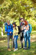 Scouts makes pause in nature Stock Photos