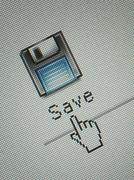 Close-up of a interface computer save button and a hand mouse cursor Stock Illustration