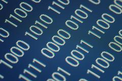 close up of binary code on a blue background - stock illustration