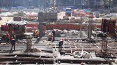 Workers at construction site in Luzhniki Stadium. Stock Footage