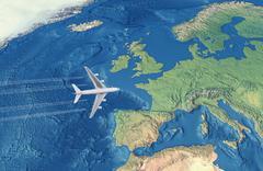 White Civil Airplane over the Atlantic ocean flying to Europe Stock Illustration
