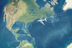 White Civil Airplane over the Atlantic ocean flying to the USA - stock illustration