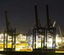 Commercial port at night Stock Photos