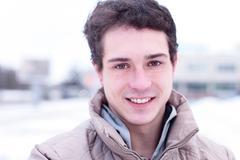 Close-up  guy street jacket outdoors  winter, idea concept  happy confident - stock photo