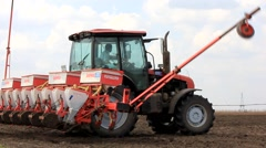 Preparing the sowing machine and the tractor Stock Footage