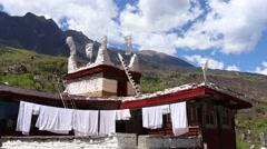 Traditional Tibetan folk residence building in a well preserved village, Danba, Stock Footage