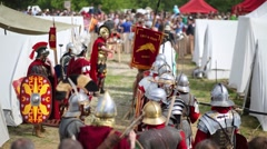 Detachment of Roman Legion in defense and weapons Stock Footage