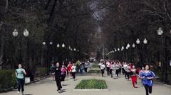 Blurred mass of marathon Stock Footage