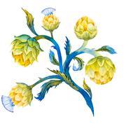 Watercolor artichoke flower - stock illustration