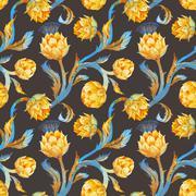 Watercolor art nouveau artichoke pattern - stock illustration