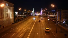 Crimean bridge and multiband highway at night in Moscow. Stock Footage