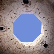 Sky seen in the courtyard of Castel del Monte. Apulia, Italy Stock Photos