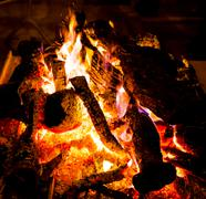Brightly are burning fire wood Stock Photos